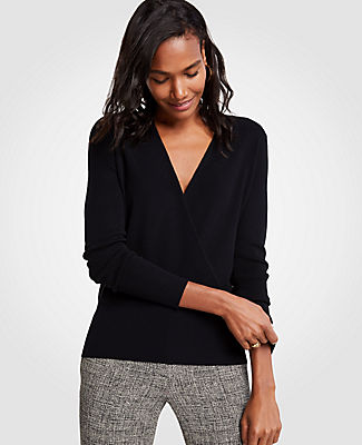 Ann Taylor Petite V-Neck Crossover Sweater 24585279