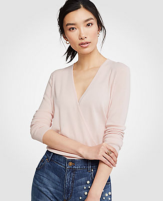 Ann Taylor Petite V-Neck Crossover Sweater 24586337