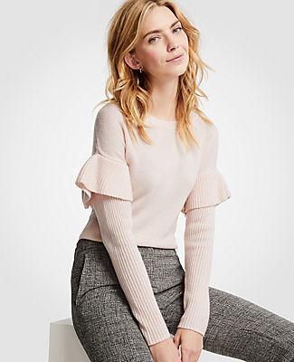 Ann Taylor Petite Flounce Sleeve Sweater 24585927