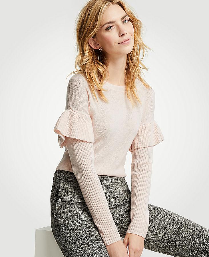 Petite Flounce Sleeve Sweater
