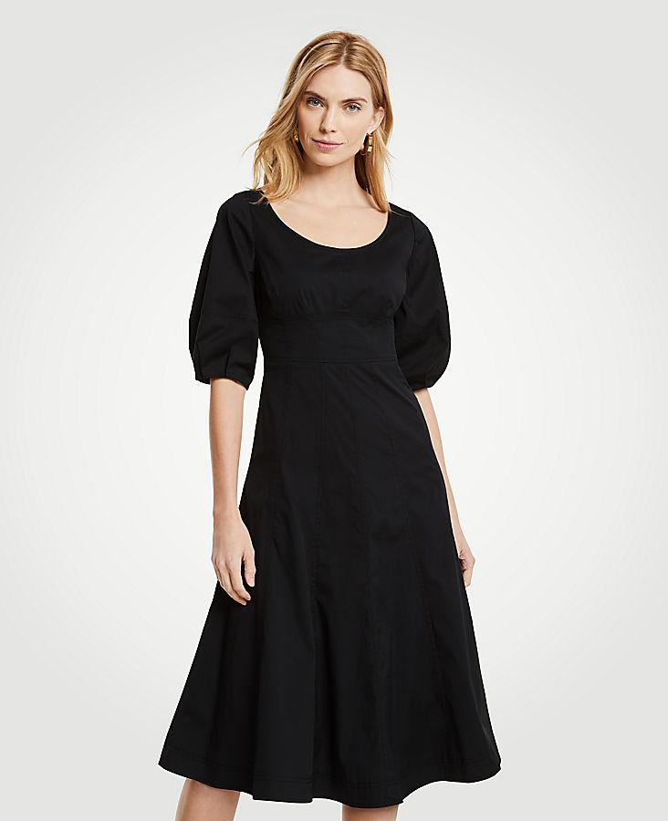 Petite Poplin Corset Flare Dress