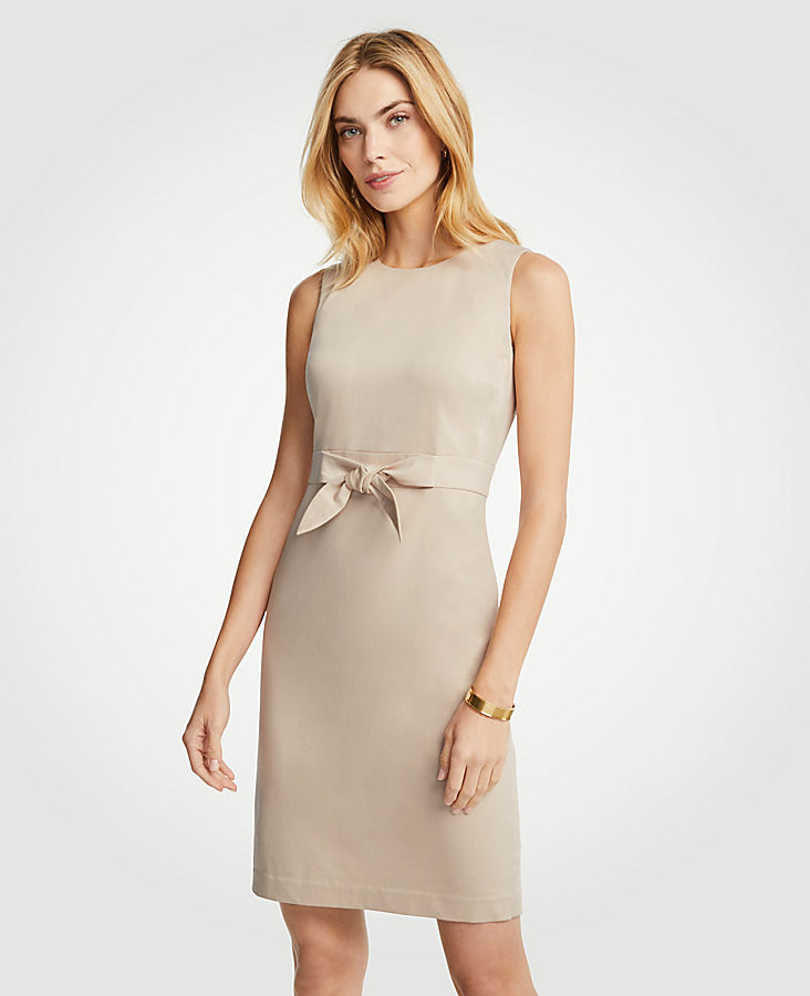 Petite Cotton Sateen Tie Front Sheath Dress