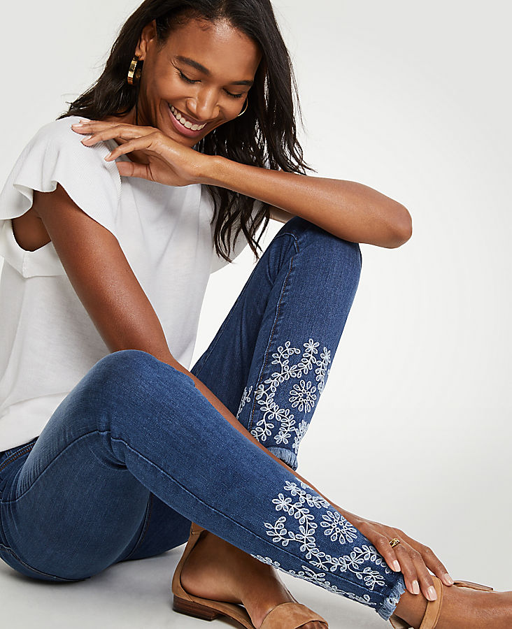 Petite Modern All Day Skinny Eyelet Jeans | Tuggl
