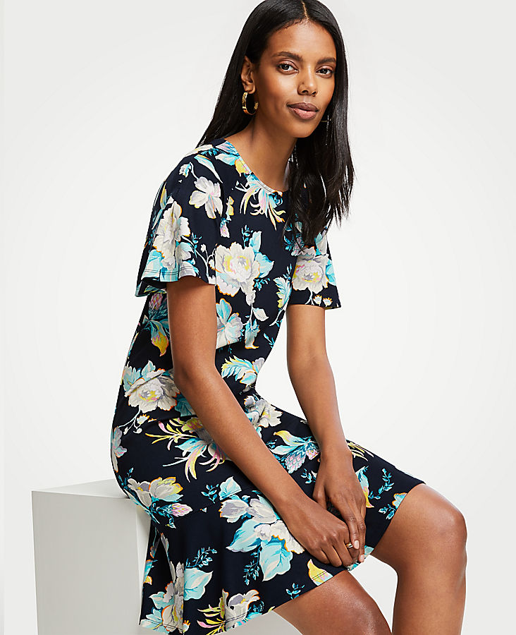 Chinoiserie Tropics Flounce Shift Dress at Ann Taylor in Victor, NY | Tuggl