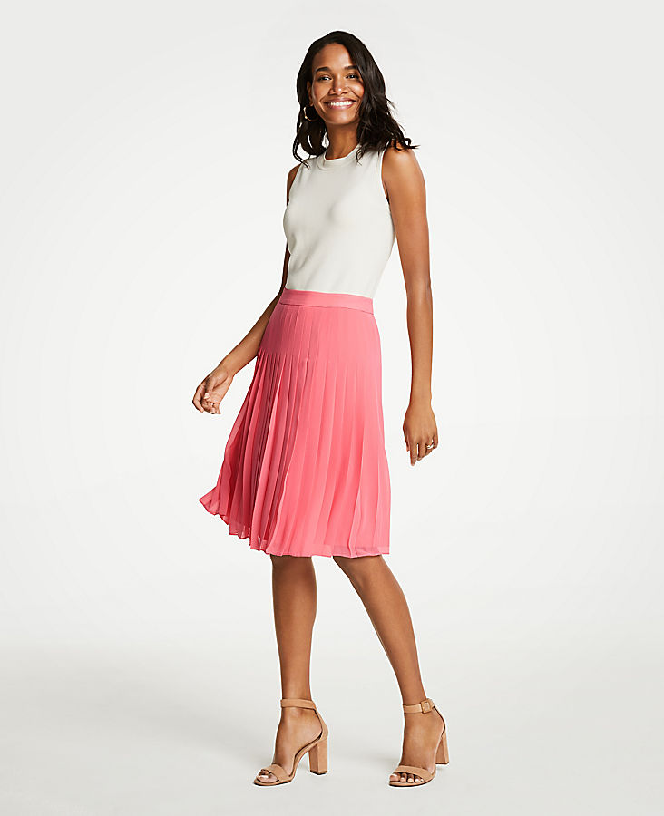 Petite Pleated Chiffon Skirt | Tuggl