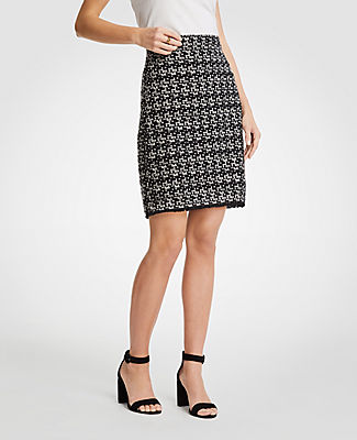 Ann Taylor Petite Tweed Fringe Skirt