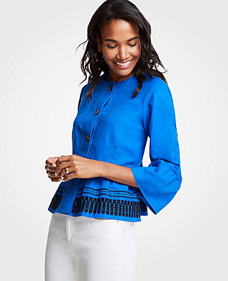 Ann Taylor Embroidered Flounce Jacket 24990585