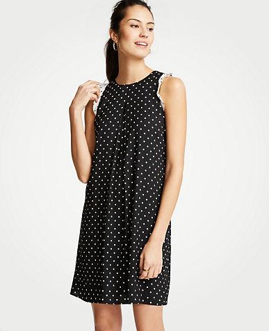 Polka Dot Ruffle Shift Dress