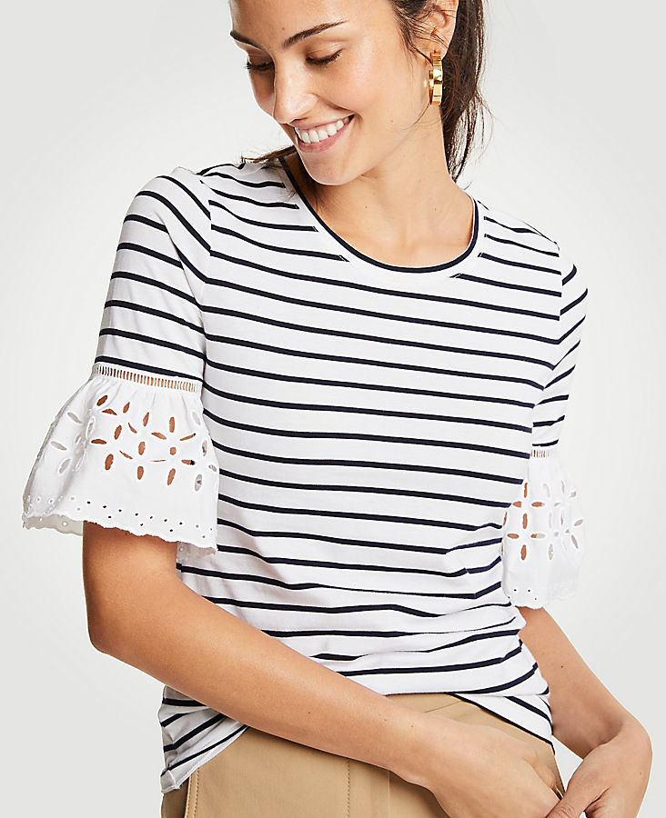 Petite Stripe Eyelet Flare Sleeve Top