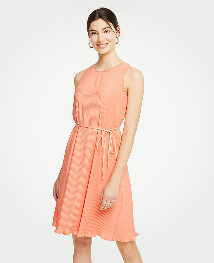 Micro Pleat Belted Dress at Ann Taylor in Victor, NY | Tuggl
