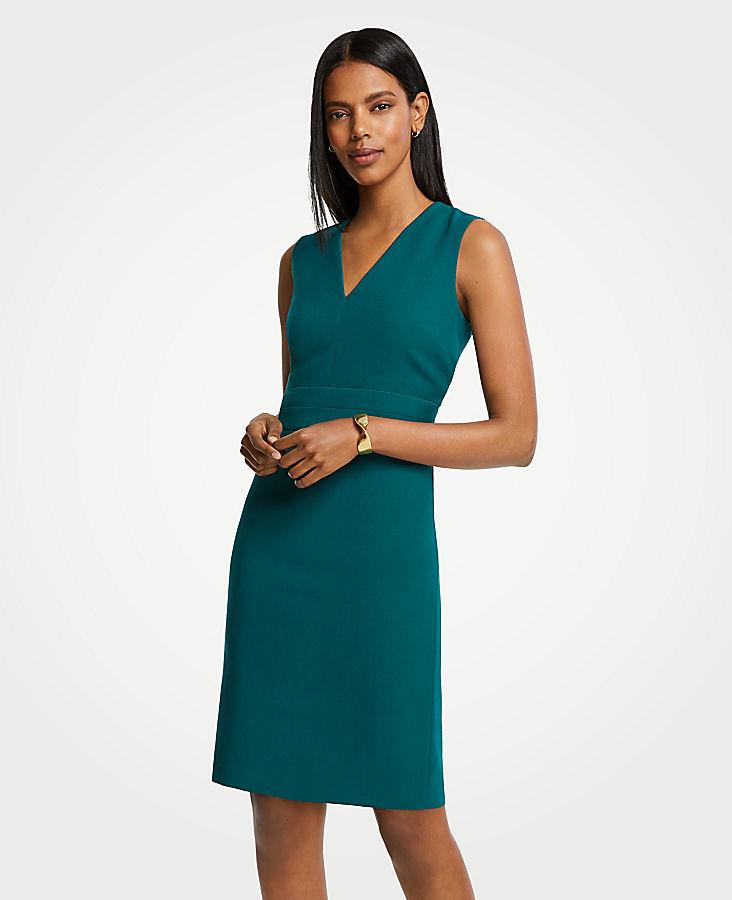 Doubleweave V-Neck Sheath Dress | Tuggl