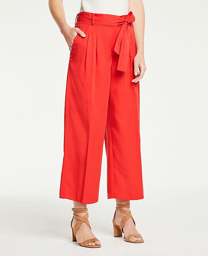 Pleated Wide Leg Crop Pants | Tuggl