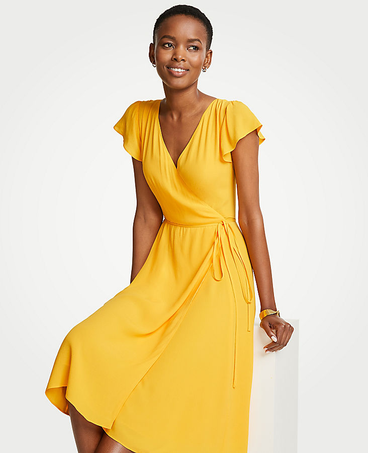 Marigold Ruffle Wrap Dress Ann Taylor