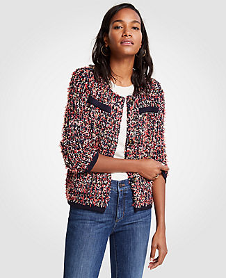 Ann Taylor Textured Tweed Pocket Jacket
