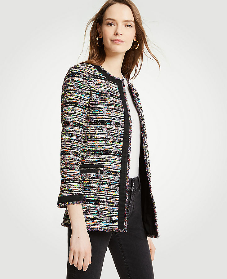 Petite Mixed Tweed Zip Pocket Jacket