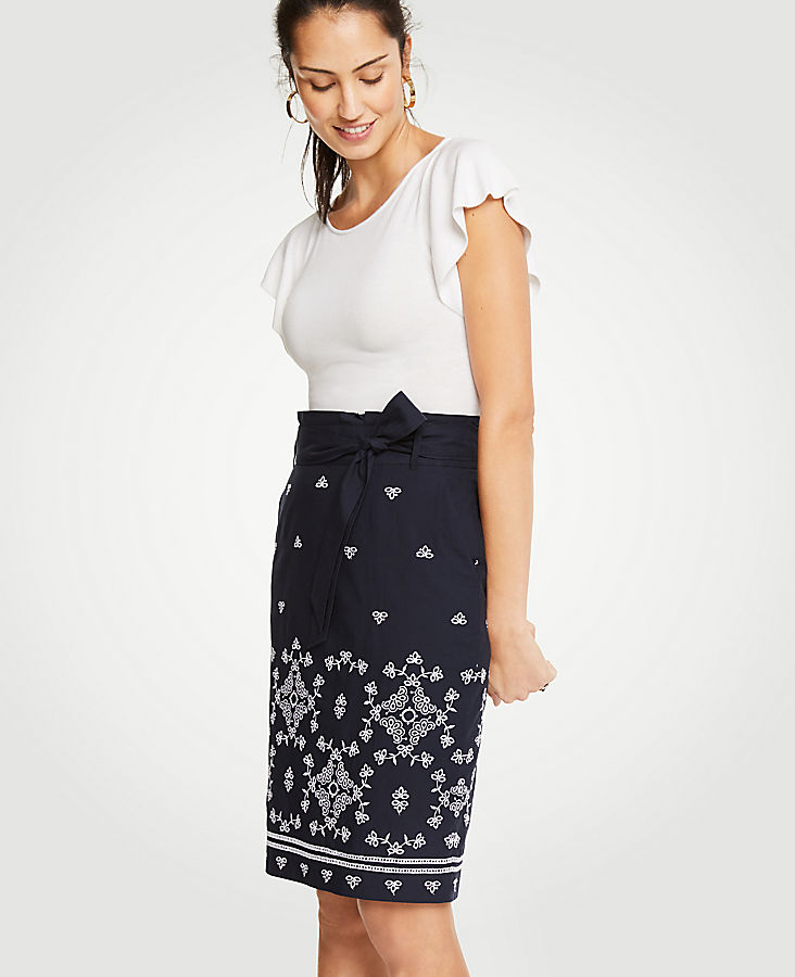 Petite Floral Eyelet Pencil Skirt