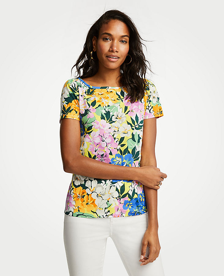 Floral Puff Sleeve Pima Cotton Tee | Tuggl