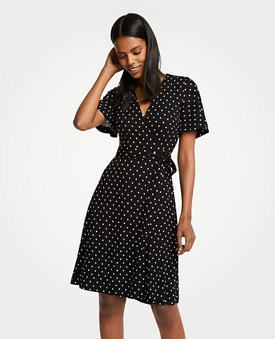 Polka Dot Flutter Sleeve Wrap Dress