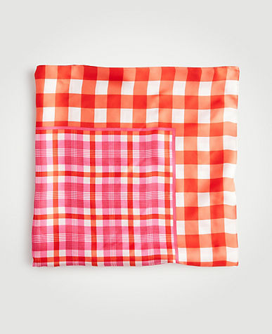 Gingham Plaid Silk Scarf