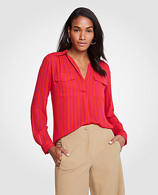 Ann Taylor Striped Camp Shirt