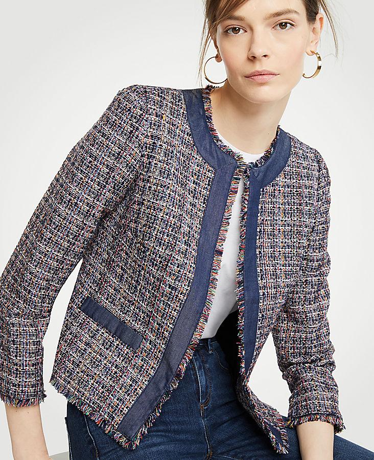 Tweed Chambray Trim Open Jacket | Tuggl