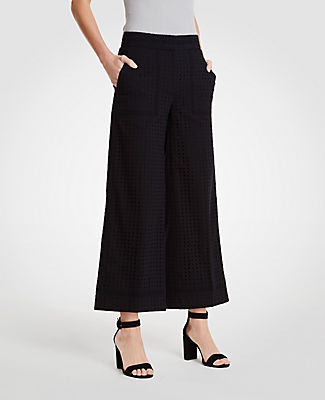 ANN TAYLOR The Petite Eyelet Wide Leg Marina Pant, Black