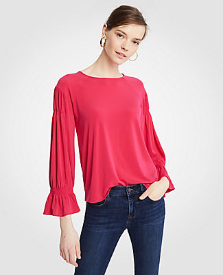 Ann Taylor Petite Pintucked Sleeve Top 25042078