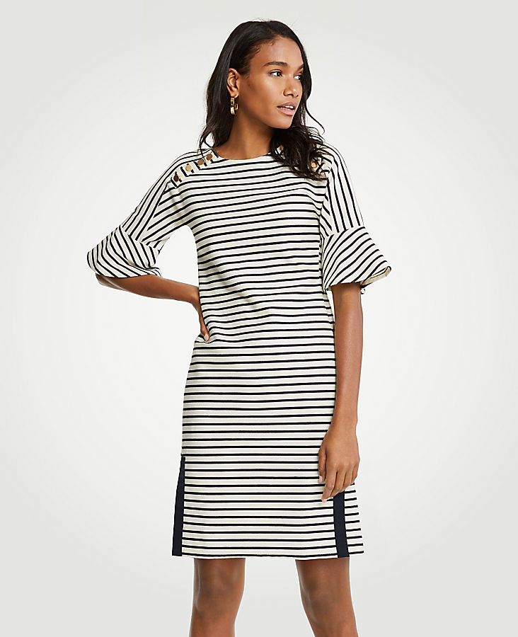Petite Striped Fluted Sleeve Shift Dress