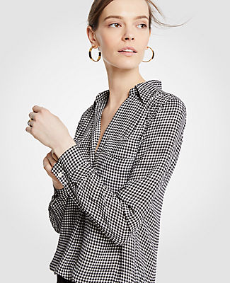 Ann Taylor Tall Poppy Gingham Camp Shirt