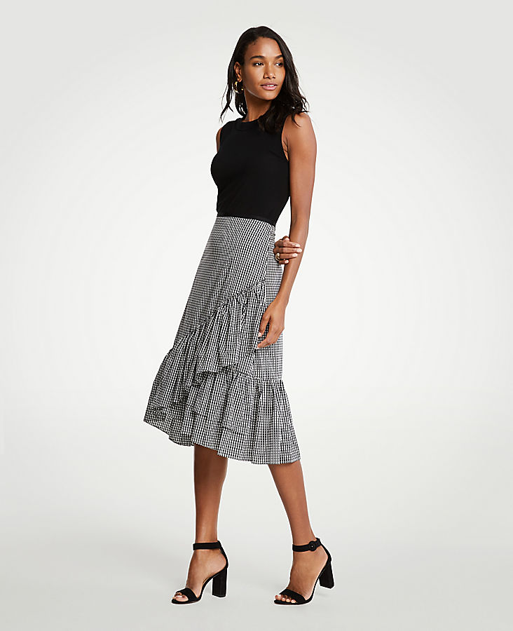 Petite Micro Gingham Fiesta Skirt