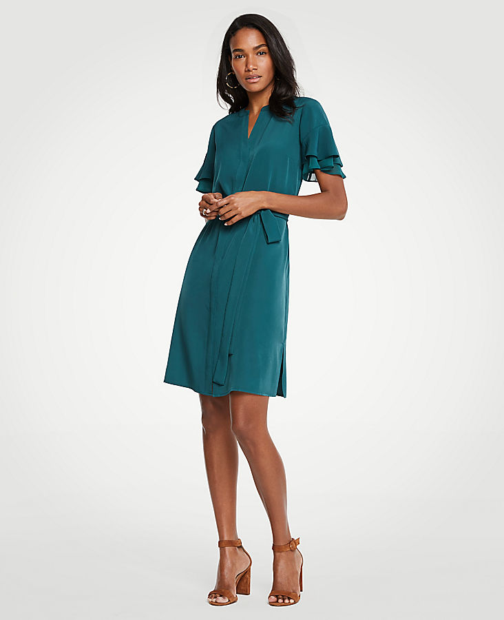 Petite Flutter Sleeve Shirtdress