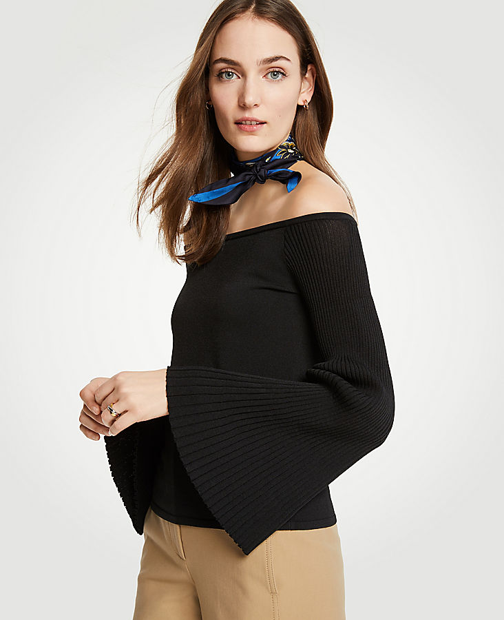 Petite Pleat Flare Sleeve Off The Shoulder Sweater