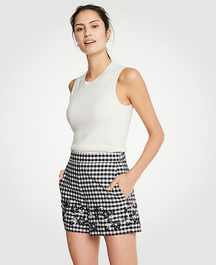 Petite Gingham Embroidered Shorts