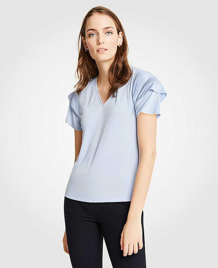 Double Flutter V-Neck Tee at Ann Taylor in Victor, NY | Tuggl