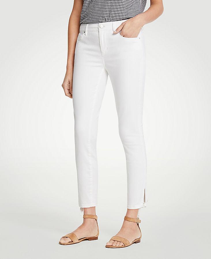 Petite Modern Ankle Tie Skinny Crop Jeans