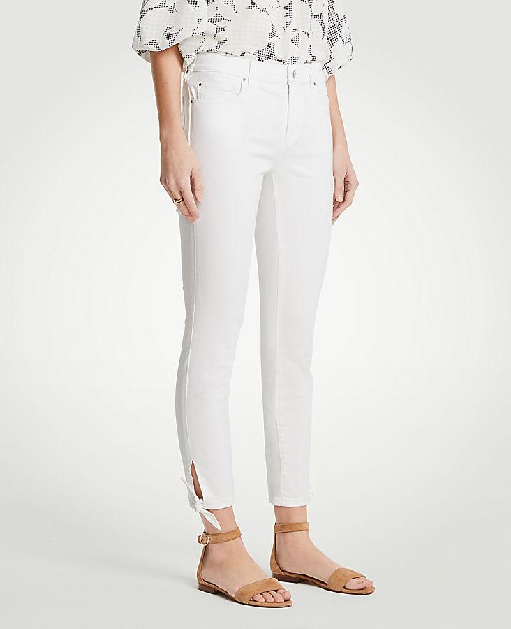 Petite Curvy Ankle Tie Skinny Crop Jeans