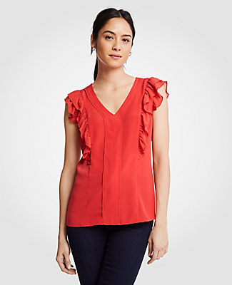 Ann Taylor Piped Flutter Sleeve Shell 24783217