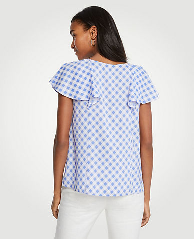 Diagonal Check Ruffle V-Neck Top