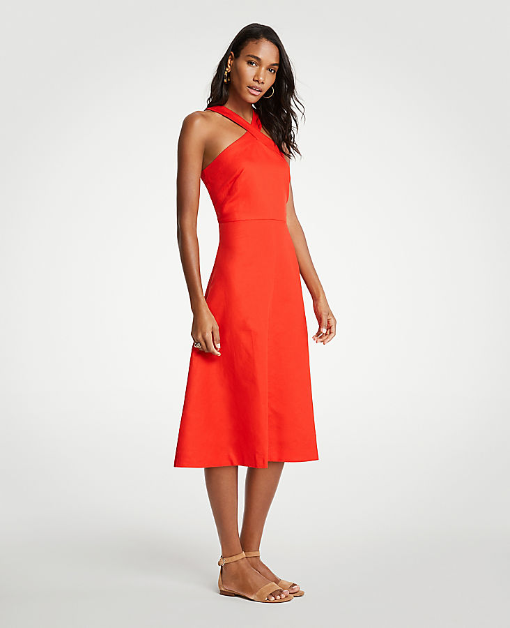 Petite Cross Neck Halter Midi Dress