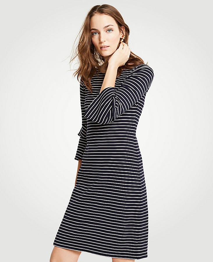 Striped Ponte Flare Sleeve Dress | Tuggl
