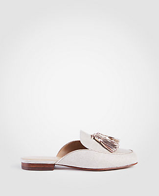 Image of Ann Taylor Factory Alesia Metallic Linen Loafer Slides