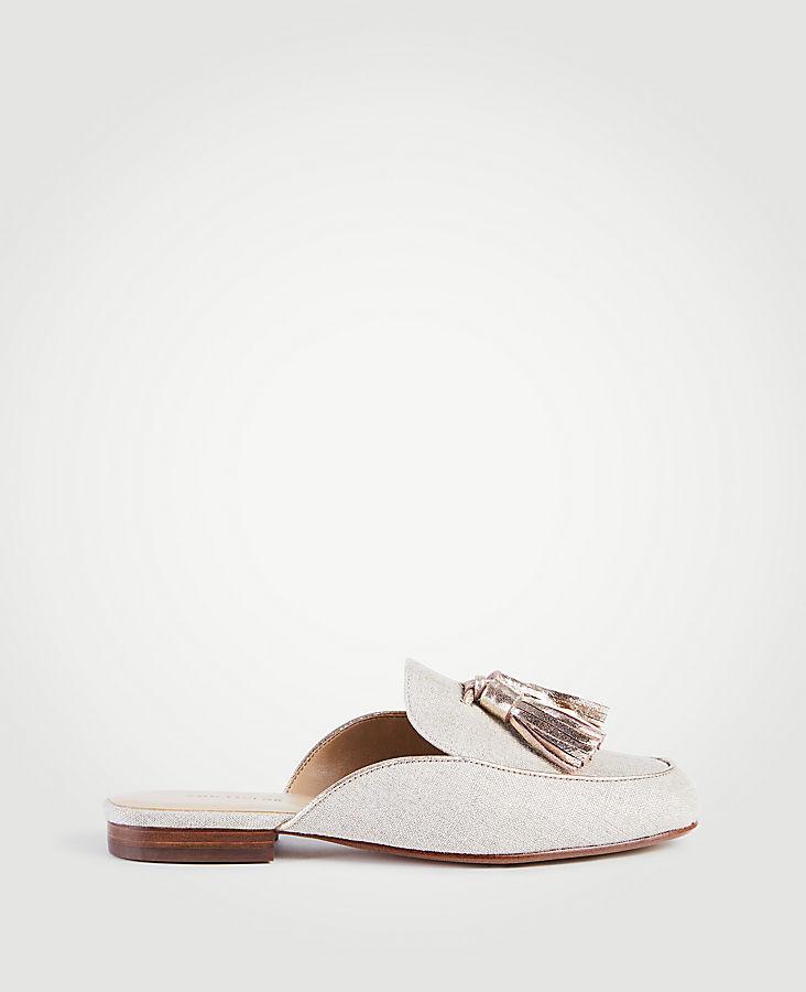 Alesia Metallic Linen Loafer Slides | Tuggl