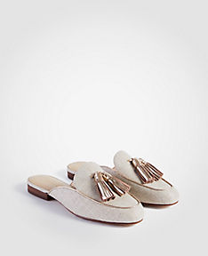 ANN TAYLOR Alesia Metallic Linen Loafer Slides