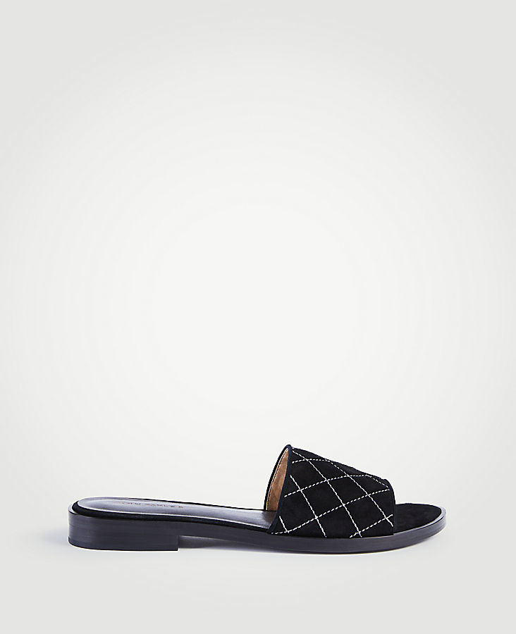 Lyra Suede Quilted Slide Sandals at Ann Taylor in Victor, NY | Tuggl