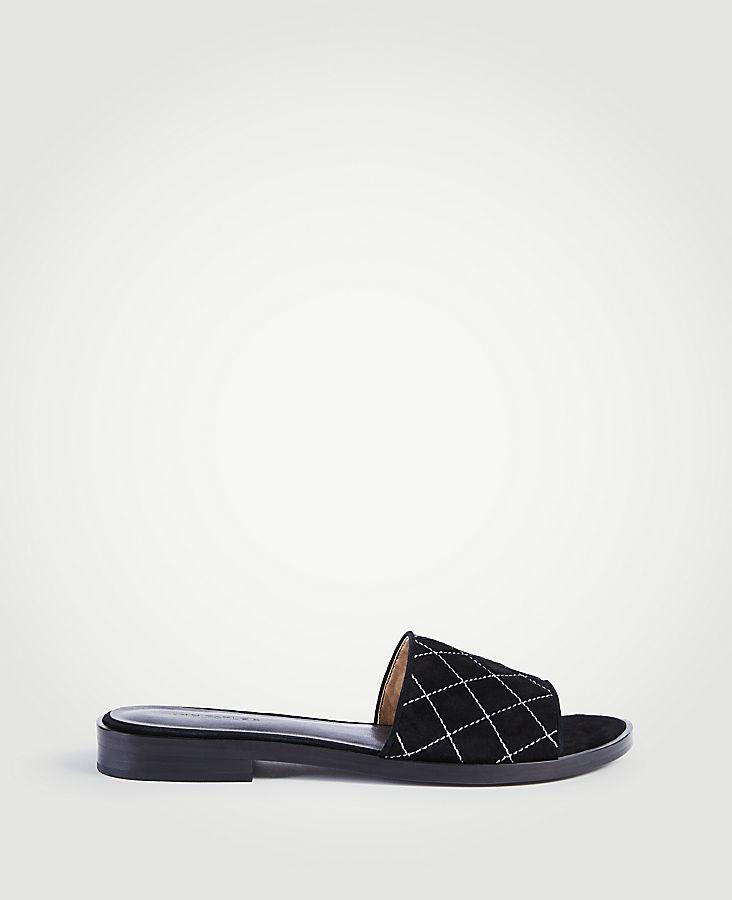 Lyra Suede Quilted Slide Sandals | Tuggl
