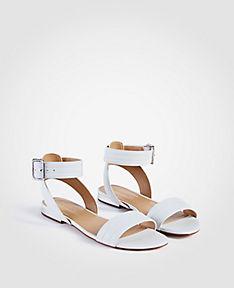 ANN TAYLOR Farrah Leather Flat Sandals jeNVqLy