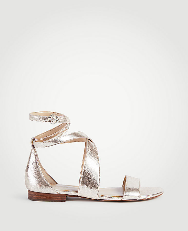 Mariel Metallic Leather Wrap Flat Sandals | Tuggl