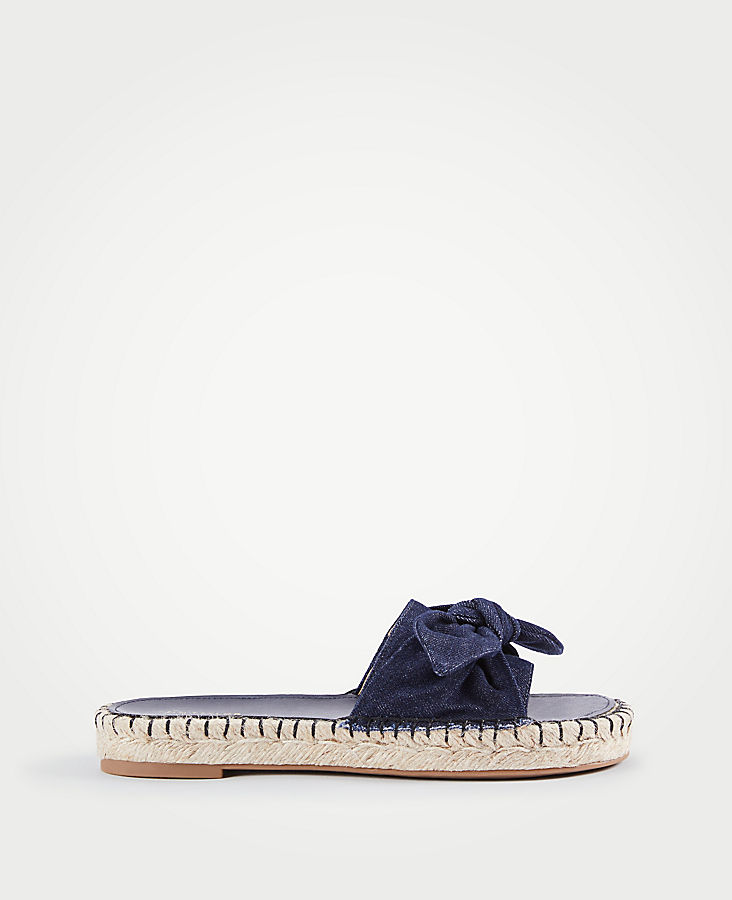 Nellie Denim Bow Espadrille Sandals | Tuggl