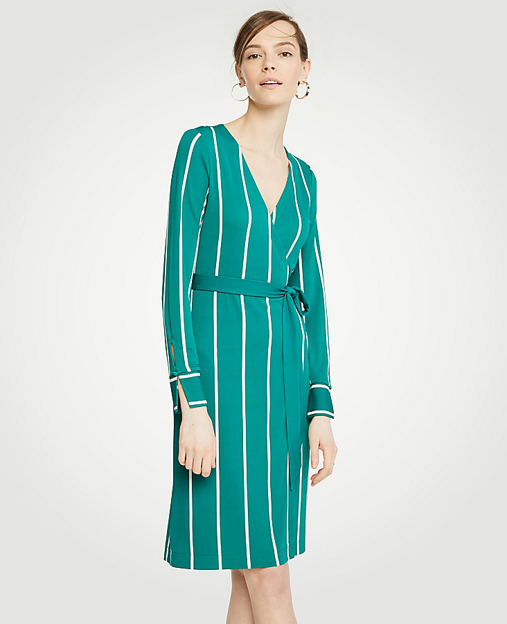 Striped Button Cuff Wrap Dress