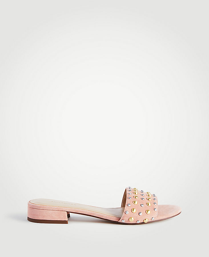 Fleur Suede Studded Slide Sandals   Tuggl